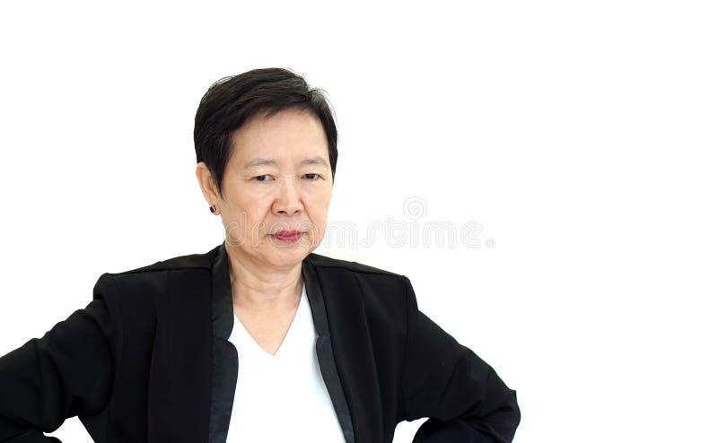 Azjatyckiego kierownika wyższego szczebla biznesowej kobiety wzburzony i nieszczęśliwy abstrakt l fotografia stock