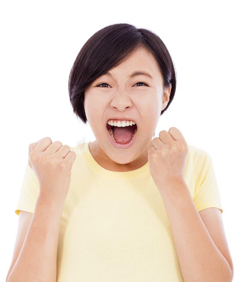 Azjatyckiego młodej dziewczyny odczucia zdziwiony wyraz twarzy fotografia royalty free