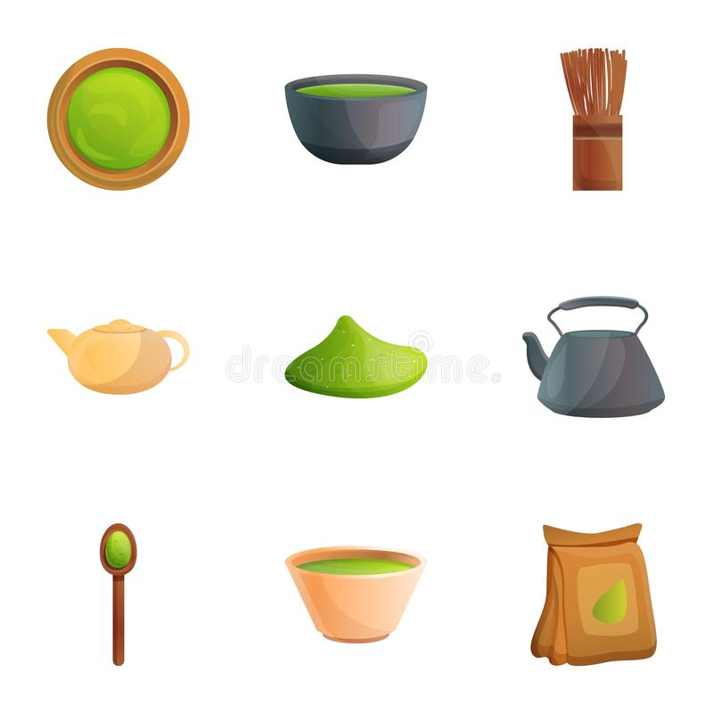 Azjatyckiego matcha ikony herbaciany set, kreskówka styl royalty ilustracja