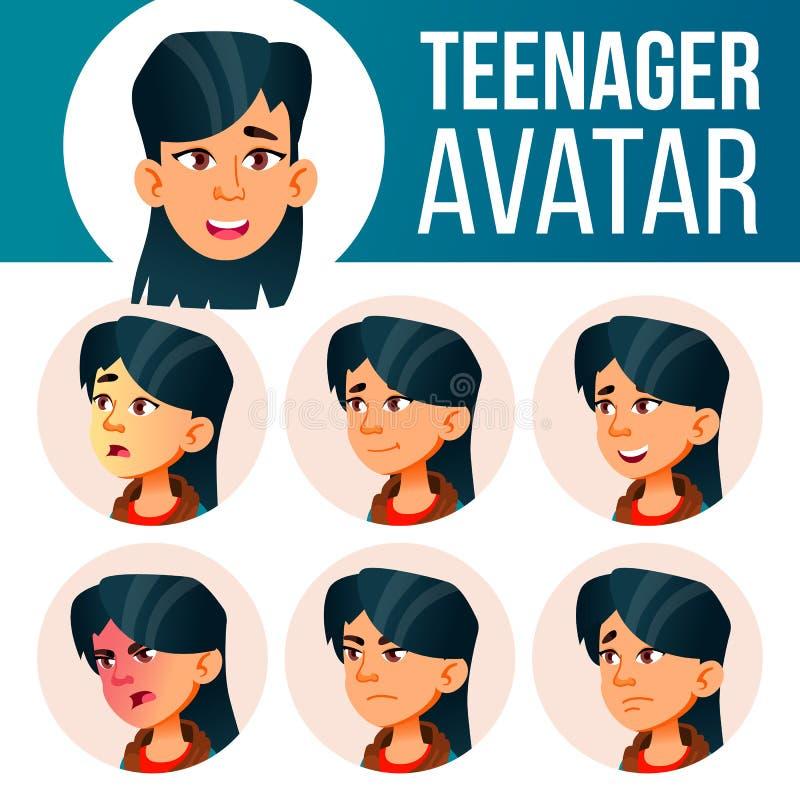 Azjatyckiego Nastoletniego dziewczyny Avatar Ustalony wektor Stawia czoło Emocje Użytkownik, charakter Zabawa, Rozochocona Kreskó ilustracja wektor