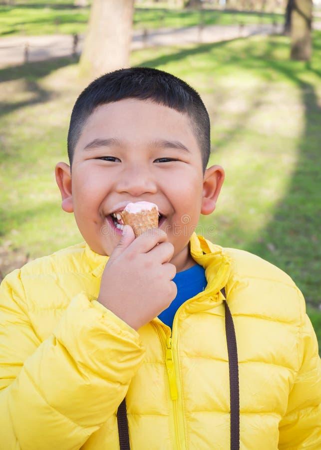 Azjatyckiego pyzatego chłopiec łasowania truskawkowy lody w parku obrazy stock
