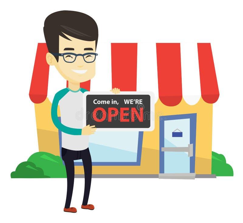 Azjatyckiego wlaściciela sklepu mienia otwarty signboard royalty ilustracja