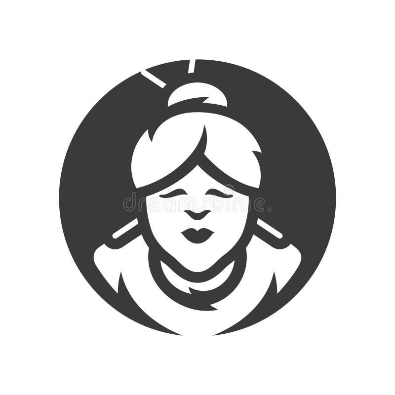 Azjatyckiej kobiety sylwetki Wektorowy znak ilustracji