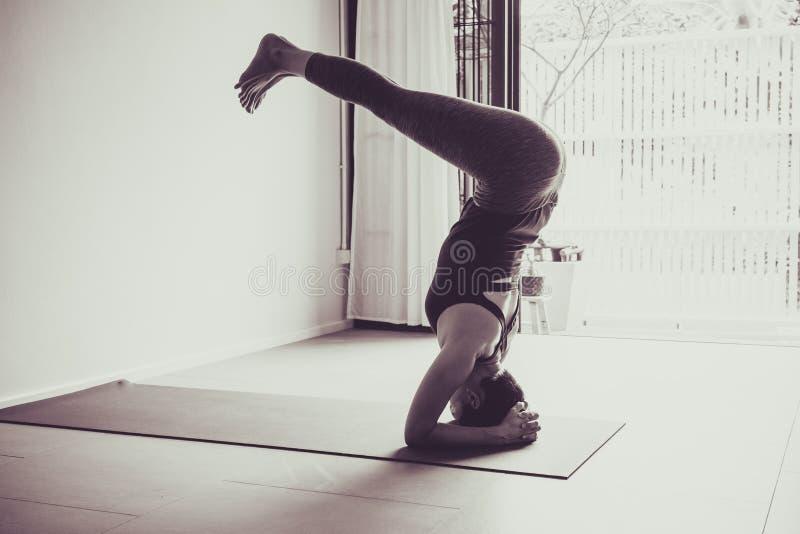 Azjatyckiej młodej kobiety ćwiczy joga w szarym tle Młody peop fotografia royalty free