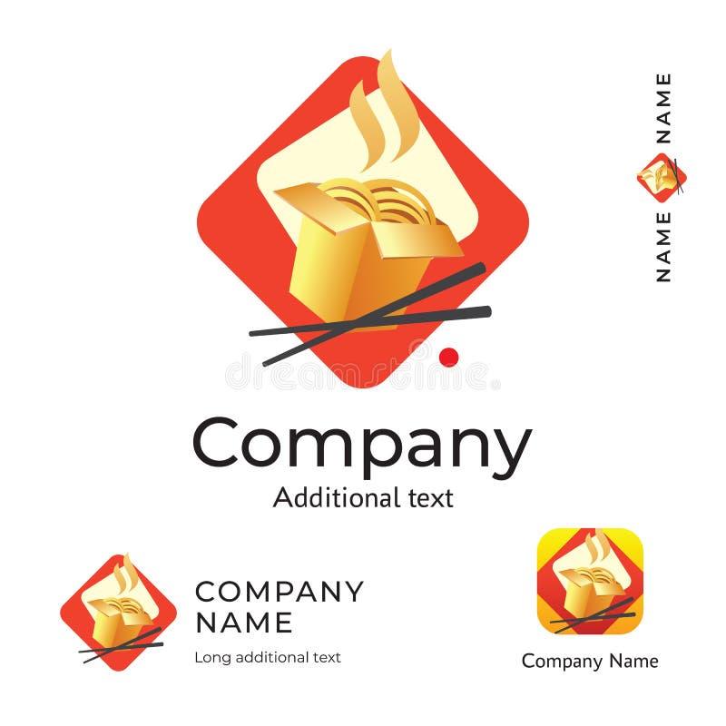 Azjatyckiej Tradycyjnej Karmowej logo Nowożytnej tożsamości Piękny Porcelanowy Restauracyjny gatunek i App ikony symbolu Handlowe ilustracja wektor