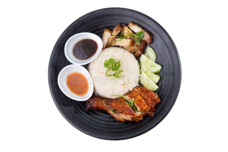 azjatykci kurczaka zbliżenia Hainan ryż styl obraz royalty free