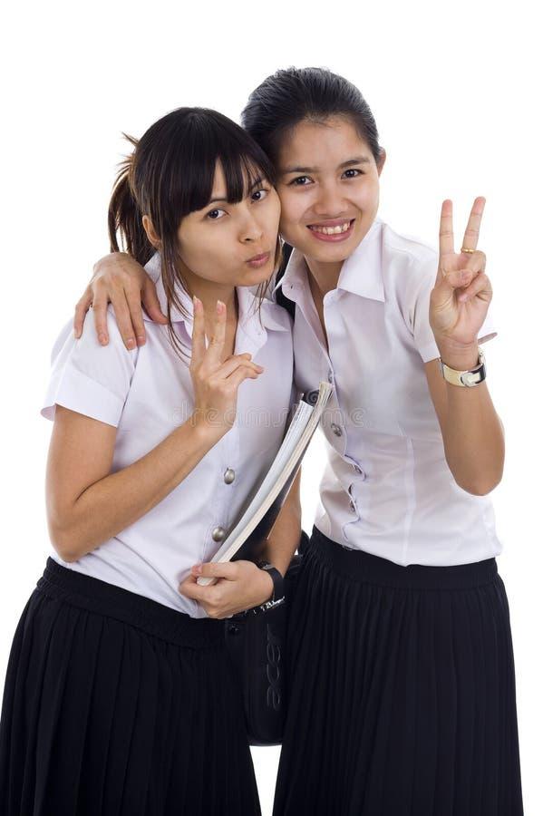 azjatykci piękni ucznie zdjęcie stock