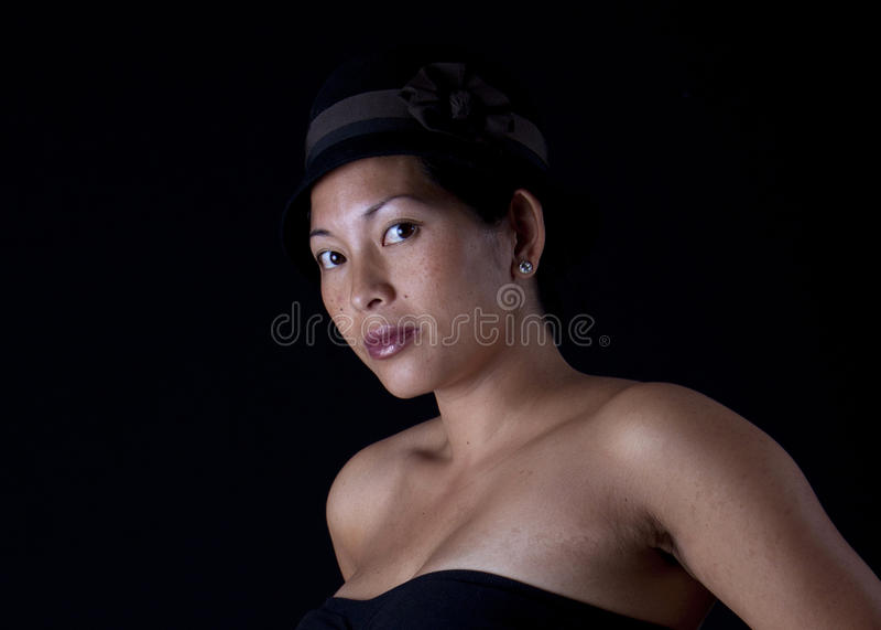 azjatykcia kapeluszowa kobieta zdjęcie royalty free