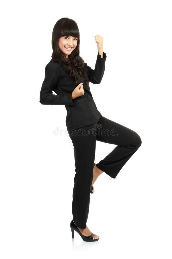 azjatykciego biznesu z podnieceniem szczęśliwa kobieta fotografia royalty free