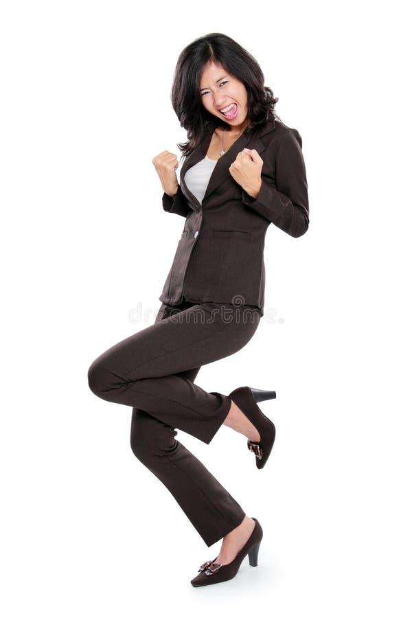 azjatykciego biznesu z podnieceniem szczęśliwa kobieta zdjęcie stock