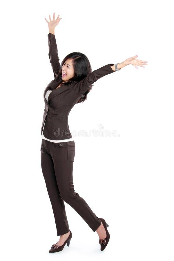 azjatykciego biznesu z podnieceniem szczęśliwa kobieta zdjęcie royalty free