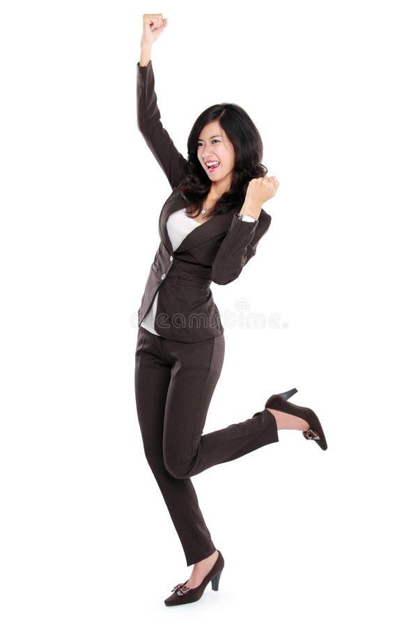 azjatykciego biznesu z podnieceniem szczęśliwa kobieta obrazy royalty free