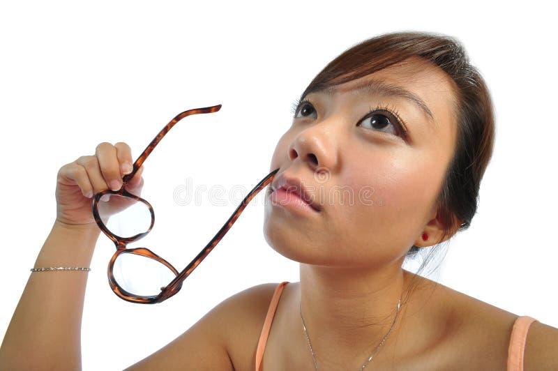azjatykciego chińczyka głębokie dziewczyny myśli zdjęcie stock
