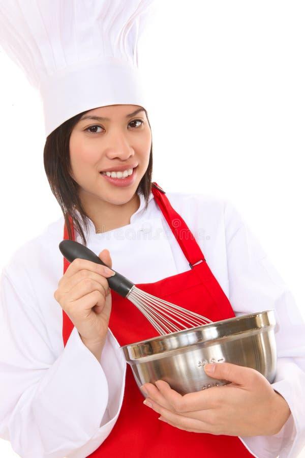 azjatykciego szef kuchni ładna kobieta obrazy stock