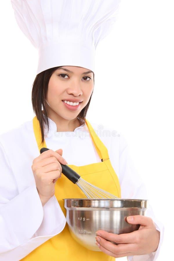 azjatykciego szef kuchni ładna kobieta zdjęcia stock