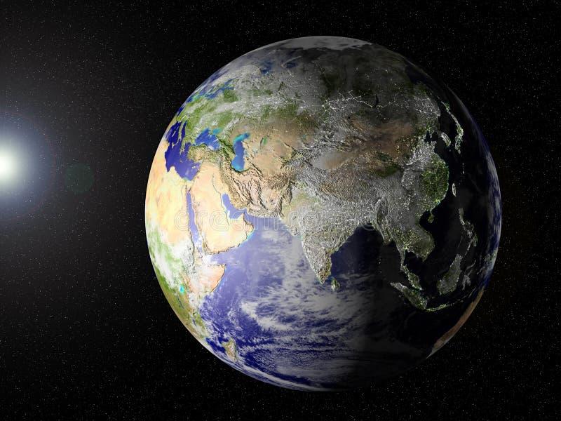 azji naszej planety od przestrzeni royalty ilustracja