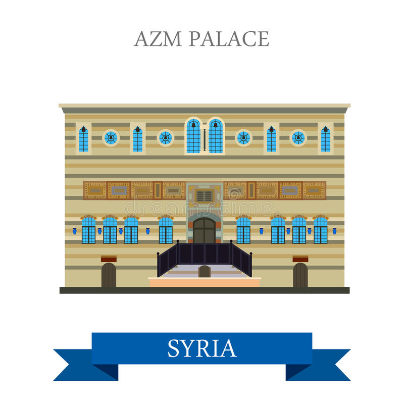 Azm pałac Damaszek Syria przyciągania wektorowa płaska podróż ilustracja wektor