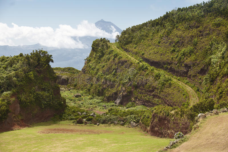 Azores green landscape in Sao Jorge and Pico island. Portugal. Horizontal stock photos