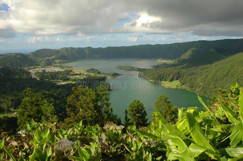 Azores lagoon stock photo