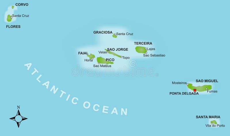 azores mapa royalty ilustracja
