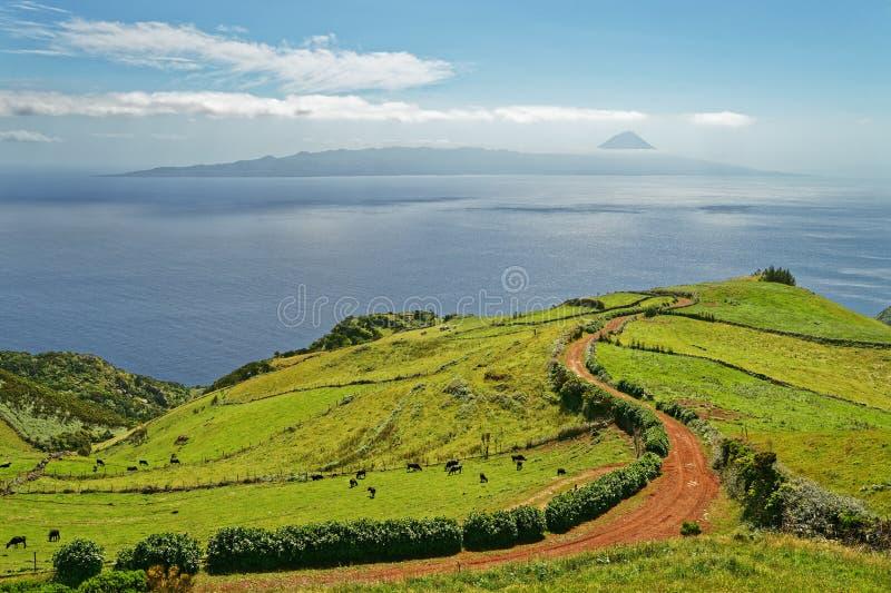 Azores - vista al volcán Pico imagenes de archivo