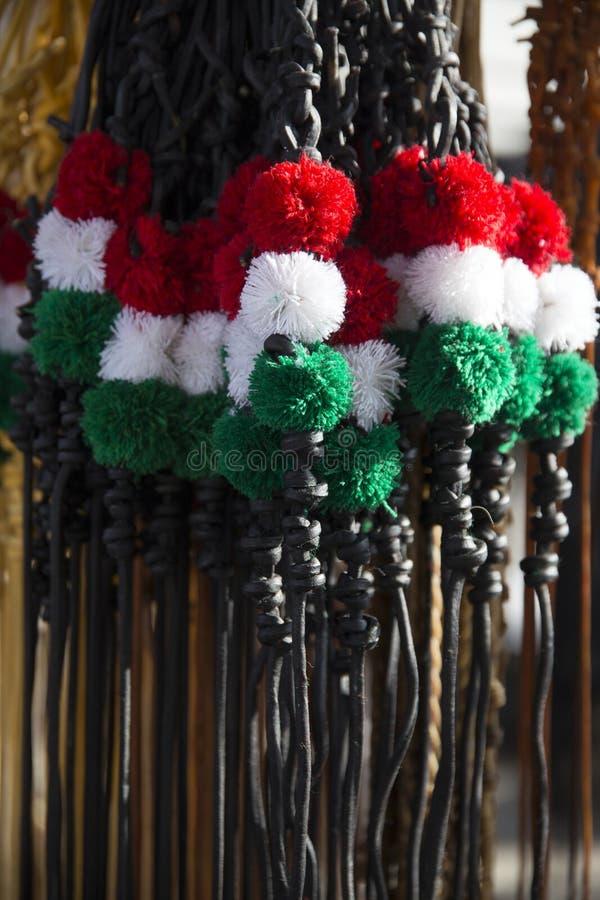 Azotes tricolores tradicionales del cuero para los sheperds húngaros y ho fotografía de archivo libre de regalías