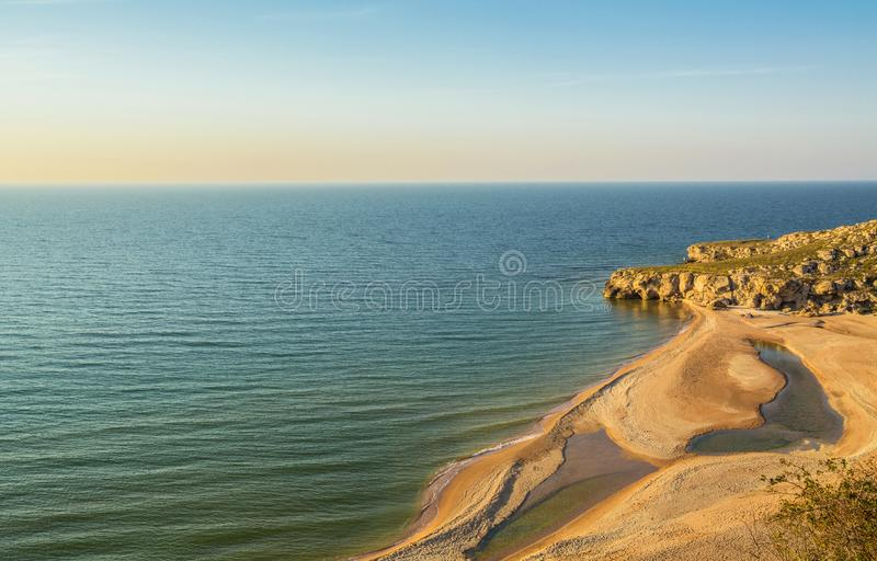 Azov Sea. Seascape of the coast of the Azov Sea in the Crimea stock image
