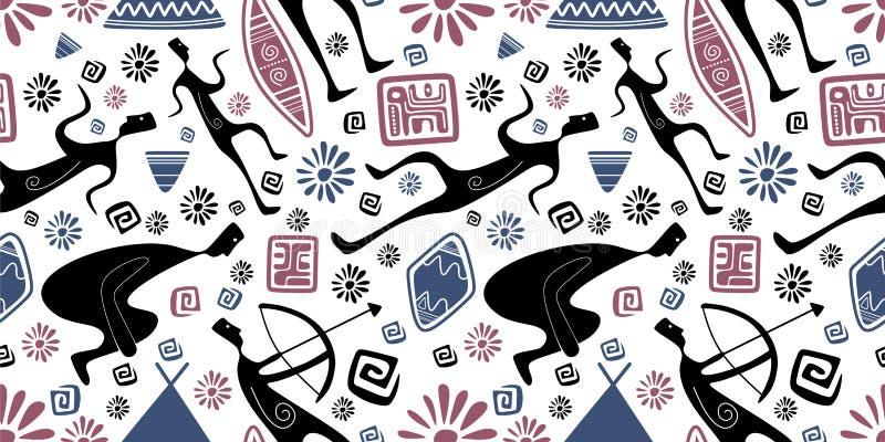 Aztèque sans couture tribal tiré par la main de modèle, Maya, Africain, et ornement tiré par la main de style de fond d'aborigène illustration de vecteur