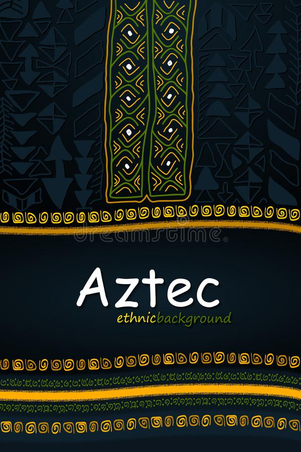 Aztec or African Hand-Drawn Ethnic Background. Abstract Tribal V royalty free illustration