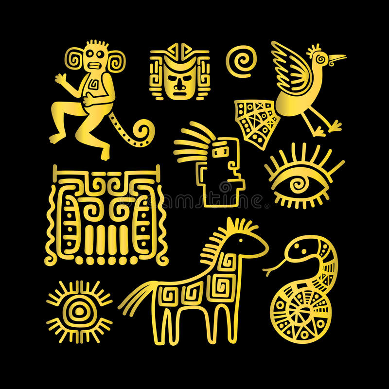 Aztec ancient animal golden symbols vector illustration