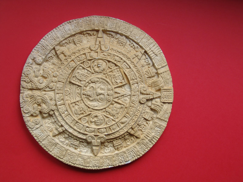 Aztec calendar. Replica of a carved stone calendar from the aztec/mayan civilization royalty free stock photos
