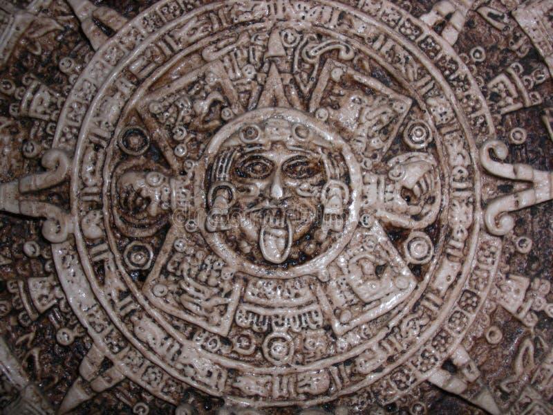 Aztec Calendar. Stone sculpture of an Ancient Aztec wheel calendar stock image