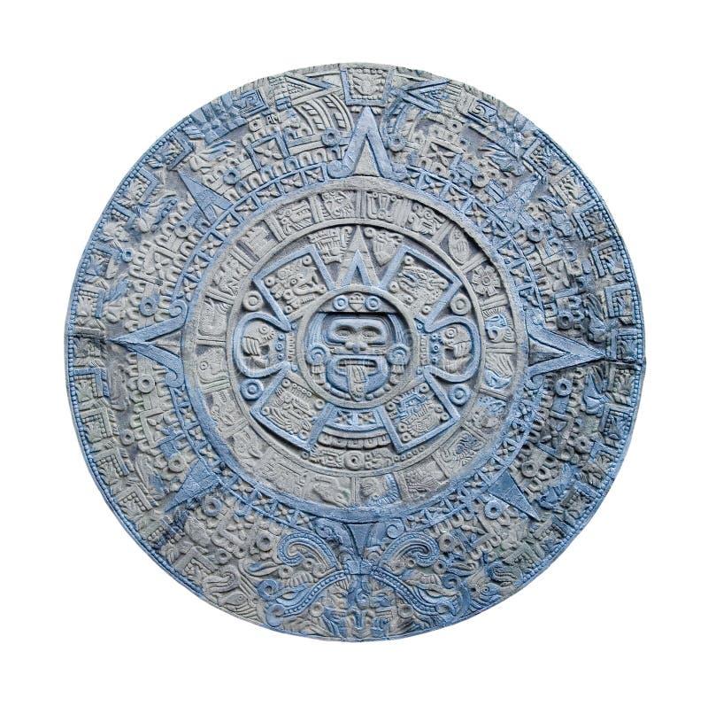 Aztec calendar. Ancient aztec calendar isolated on white background stock photo