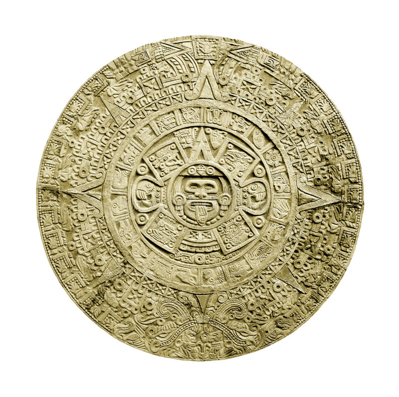 Aztec calendar. Ancient aztec calendar isolated on white background stock photography