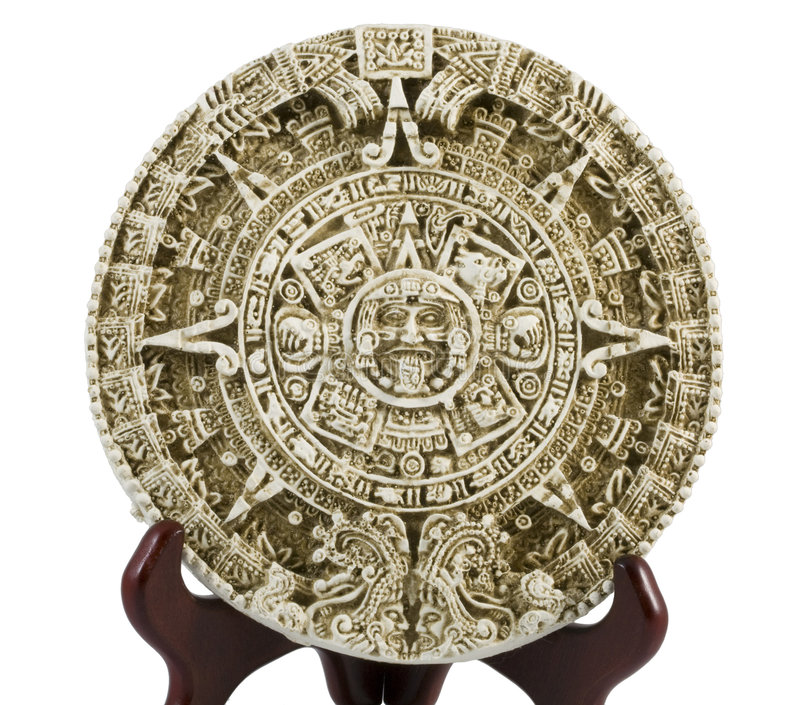 Aztec Calendar Depiction. Photo of an Aztec Calendar plaque royalty free stock image