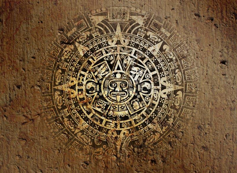 Aztec calendar on old stone stock photo