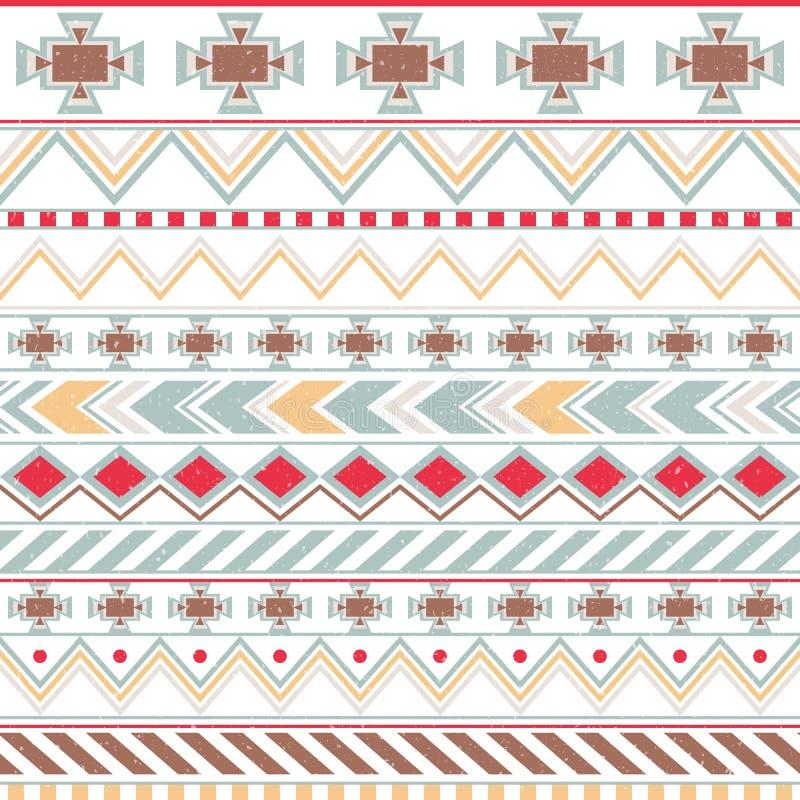 Aztec colorful ethnic seamless pattern, tribal light background royalty free illustration