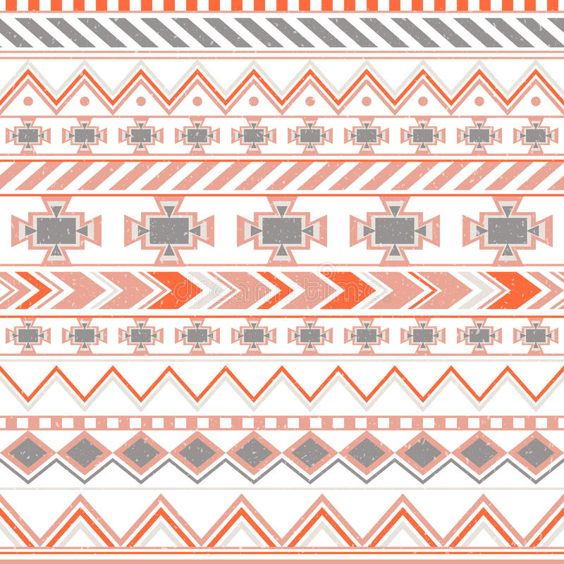 Aztec colorful ethnic seamless pattern, tribal orange and blue color background royalty free illustration