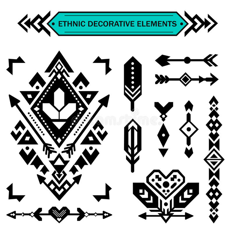 Aztec decorative elements. stock image