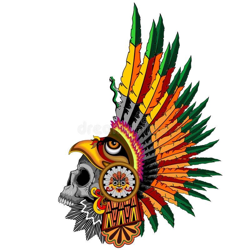 Aztec Eagle Warrior Skull stock vector. Illustration of ...