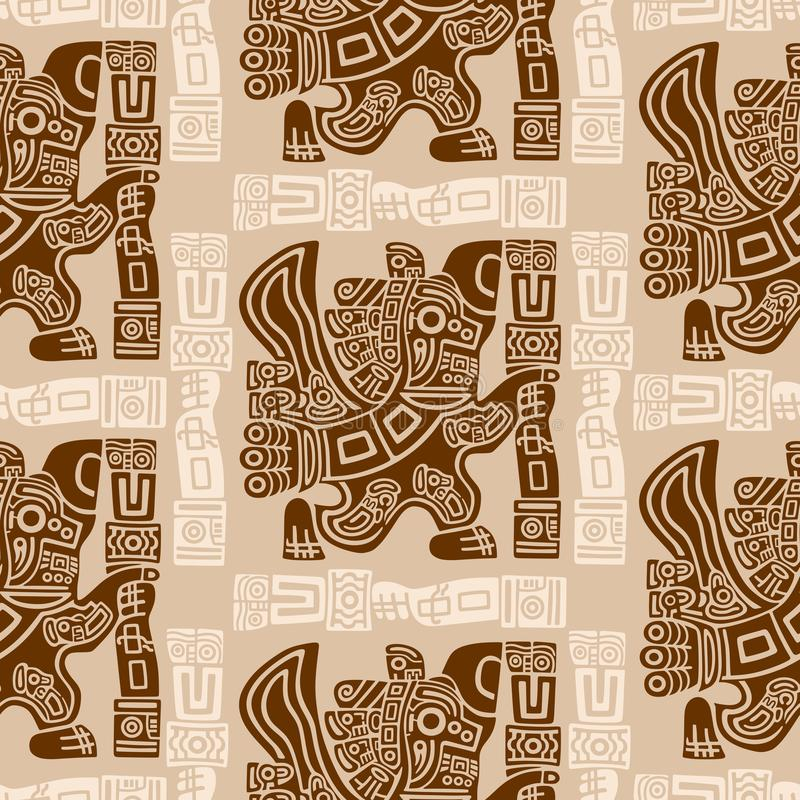 Free Aztec Eagle Warrior Tribal Ancient Design Seamless Pattern Royalty Free Stock Image - 139107216
