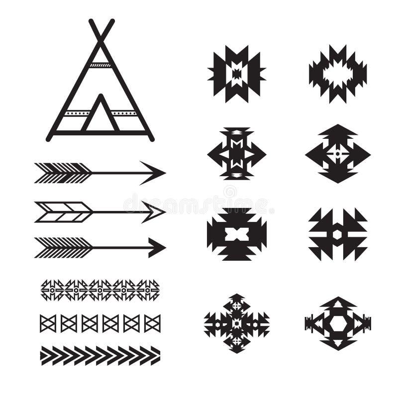Aztec ethnic elements set, tribal black and white stock illustration