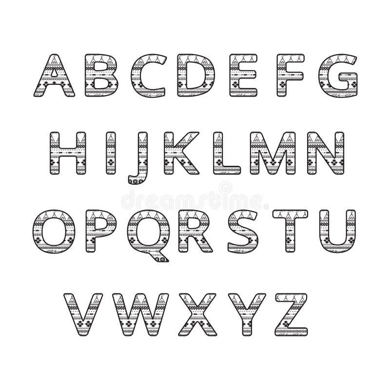 Aztec ethnic ornamental font. english black and white color alphabet vector illustration
