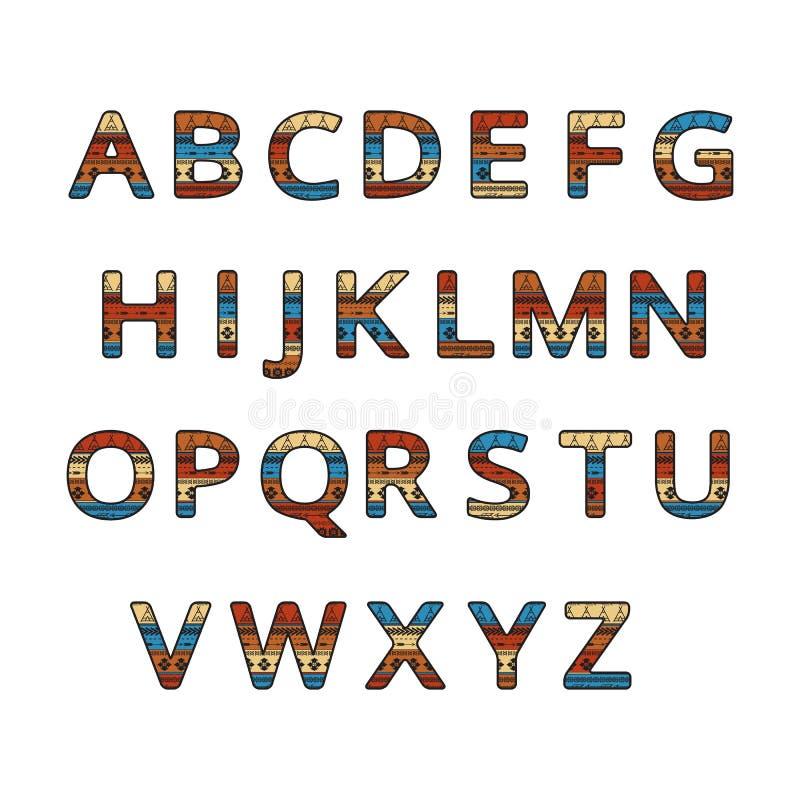 Aztec ethnic ornamental font. English colorful alphabet vector illustration