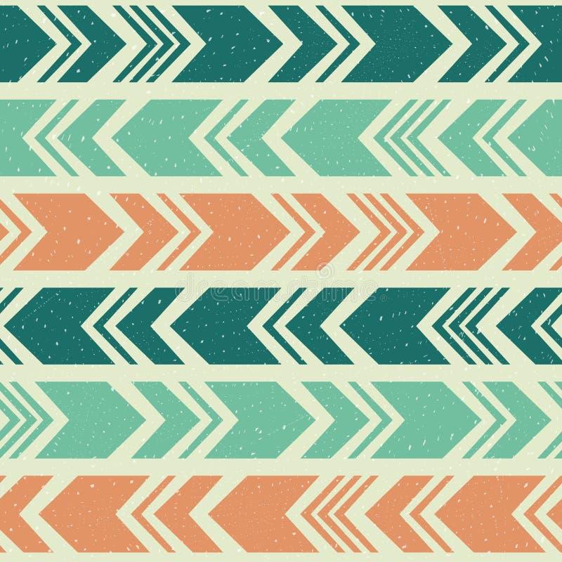 Aztec ethnic seamless pattern, tribal blue, orange and green background royalty free illustration