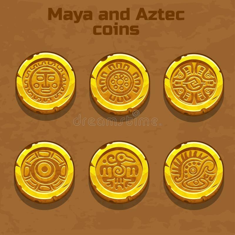Aztec för gammal guld och Mayamynt, modig beståndsdel royaltyfri illustrationer