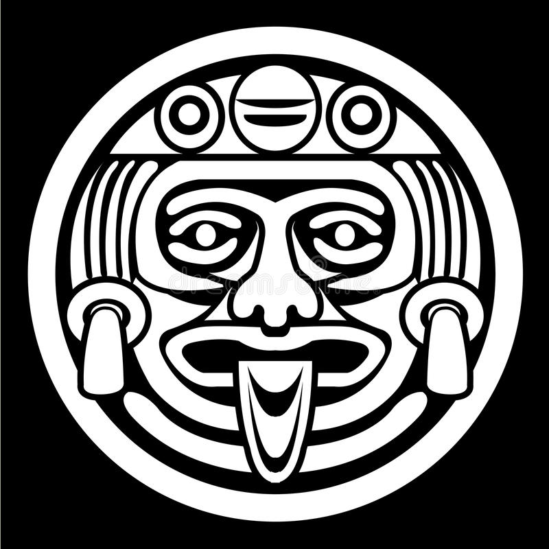 Aztec face mask. In Black & White royalty free illustration