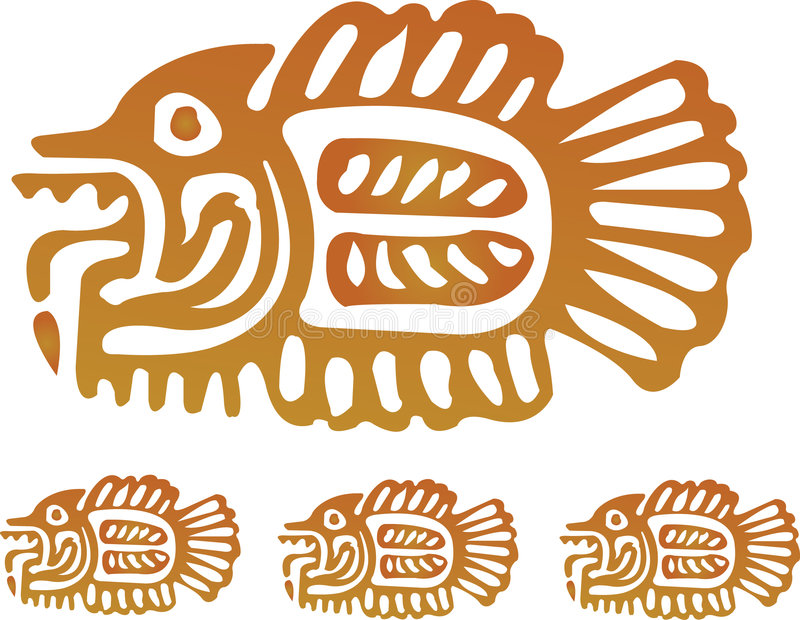 aztec fisk royaltyfri illustrationer