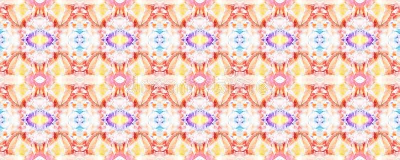 Ikat Seamless Pattern. Aztec Geometric Textile Border Watercolor Hand Drawn Textile. Creative Navajo Ikat Background. Allover Organic Swimwear Design. Geo Ogee vector illustration