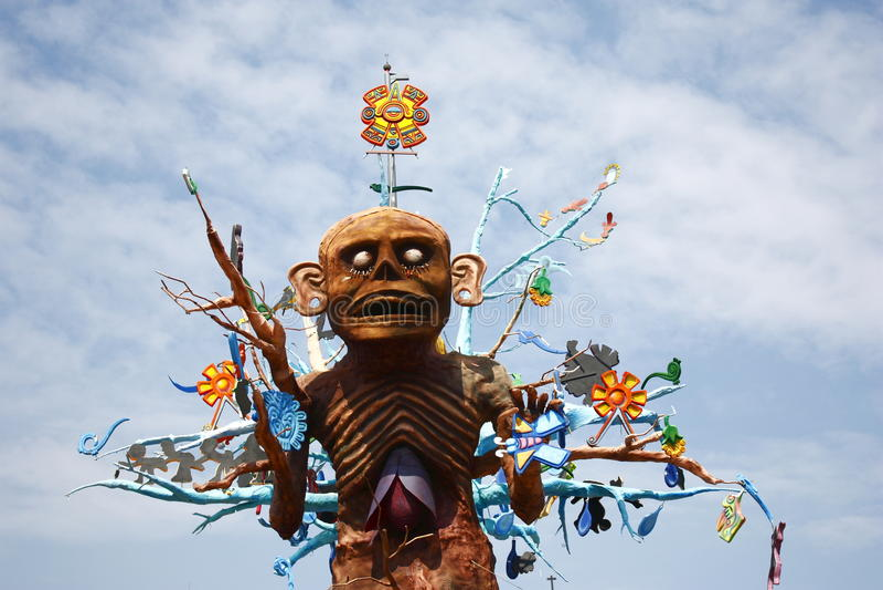 Aztec god Mictlantecuhtli. Representation of the ancient aztec god of the dead Mictlantecuhtli as part of the celebration of the day of the dead in mexico city stock images